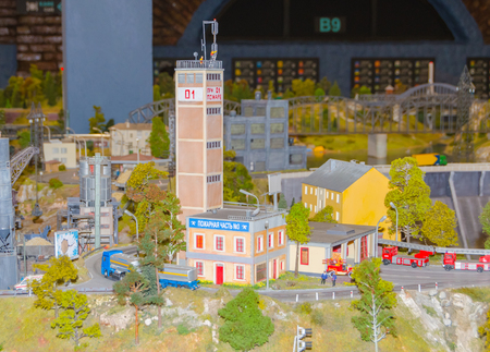 Russia, Saint-Petersburg, January 18, 2018 - the Museum Grand model Russia, city transport and the production in miniature. Stock Photo - 94170802