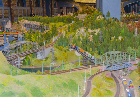 Russia, Saint-Petersburg, January 18, 2018 - the Museum Grand model Russia, city transport and the production in miniature. Editorial