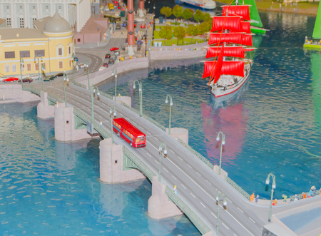Russia, Saint-Petersburg, January 18, 2018 - the Museum Grand model Russia, city transport and the production in miniature. 에디토리얼