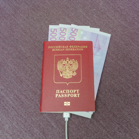 is the passport of the citizen of the country with the money Euro, fabric texture