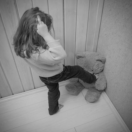 baby girl, baby  kick beat bear toy 写真素材