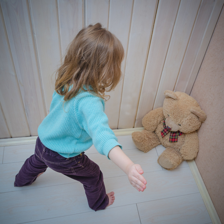 punishes bear toy, pounding, slap, girl, child