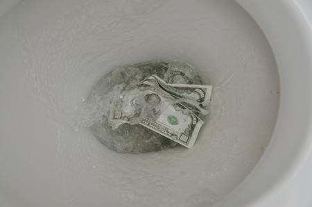 in the toilet wash a thousand dollars bill