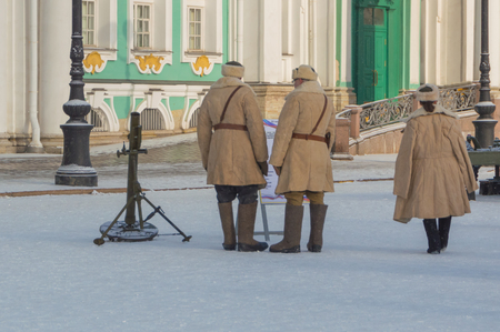 on Palace square soldiers of the red army near the mortar