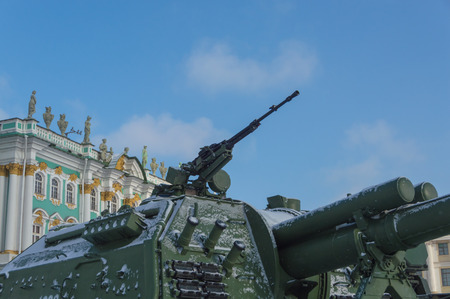 on the tank heavy machine gun, against the sky