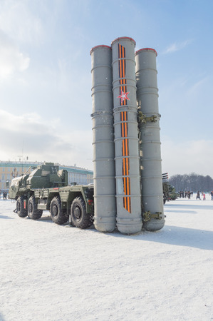 rocket complex Topol-m, s-400, deployed in the city in winter