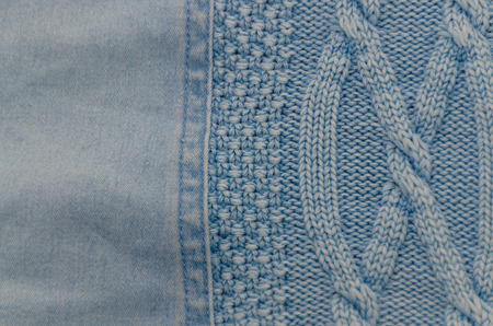 texture, blue jeans fabric and knitted wool background