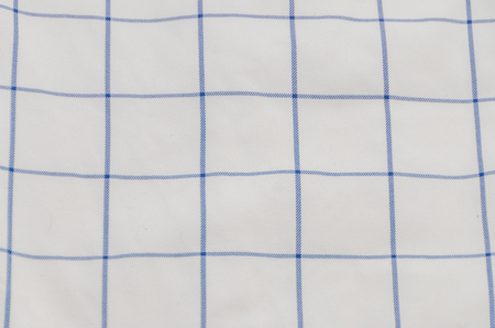 texture, white fabric with blue stripes, cells, background Stock Photo