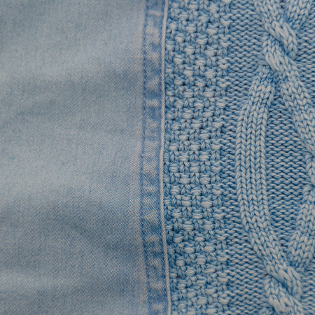 background, blue jeans fabric and knitted wool, texture