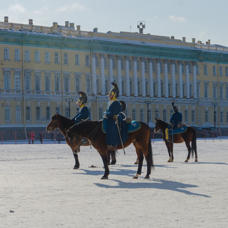 Russia, Saint Petersburg, February 27, 2018- a reconstruction, on Palace square Russian equestrian soldier in the form of times of Alexander the first Stock Photo - 97261619