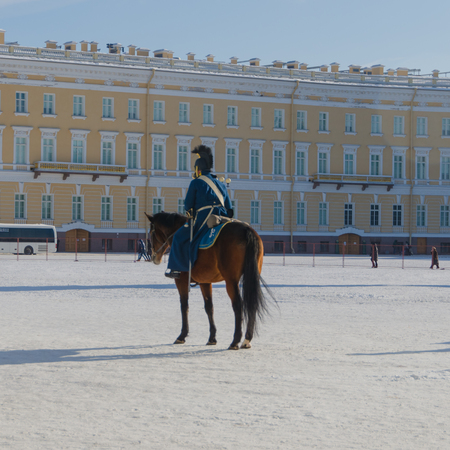 Russia, Saint Petersburg, February 27, 2018-reconstruction, Russian equestrian soldier in the form of Alexander the first times, the Hermitage Editorial