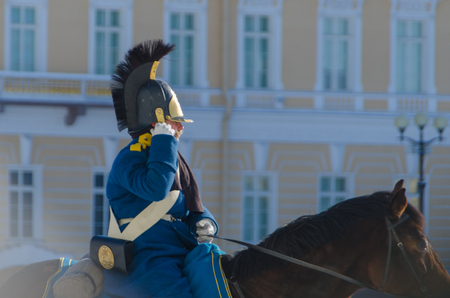 Russia, Saint Petersburg, February 27, 2018- the reconstruction, on Palace square Russian equestrian soldier in the form of times of Alexander the first Editorial