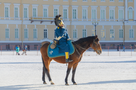 Russia, Saint Petersburg, February 27, 2018- a reconstruction, Russian equestrian soldier in the form of Alexander the first times, the Hermitage