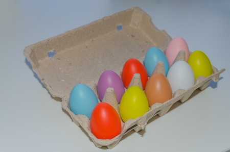 multicolored Easter eggs in a pack