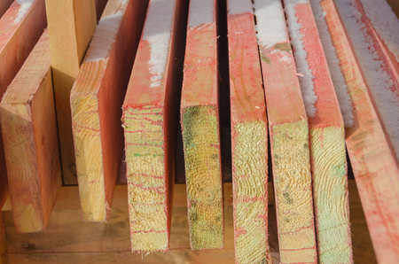 close-up, boards treated with fire-biological protection for construction