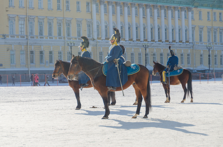 Russia, Saint Petersburg, February 27, 2018- the reconstruction, Russian equestrian soldier in the form of Alexander the first times,  the Hermitage