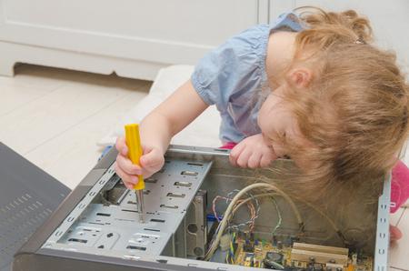 baby girl, baby computer repair, system block screwdriver
