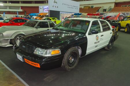 Russia, St. Petersburg, April 13 , 2018-Ford, police, at the world of the car exhibition in SKK.