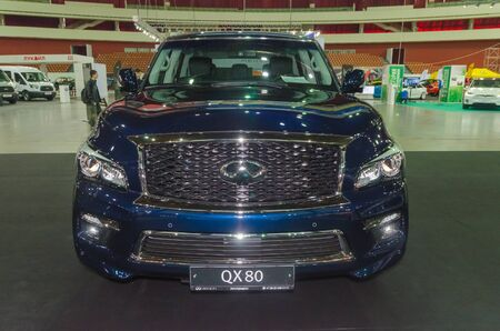 Russia, St. Petersburg, April 13, 2018-Infiniti QX80 at the car world exhibition in SKK.