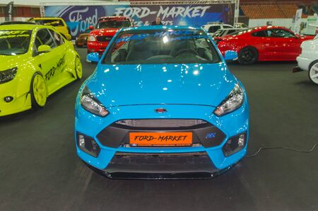Russia, Saint Petersburg, April 13, 2018-blue Ford convertible removable roof, automobile exhibition in CCM.