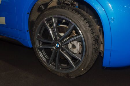 Russia, St. Petersburg, April 13, 2018-BMW wheel, world automobile exhibition in SKK. Editorial