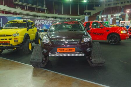 Russia, Saint Petersburg, April 13, 2018-Ford, off road vehicle , all - terrain vehicle on tracks, caterpillar, at the exhibition world of the car in SKK.