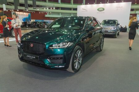 Russia, St. Petersburg, April 13, 2018-Jaguar f - Pace at the car world exhibition in SKK. Editorial