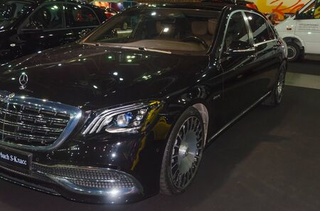 Russia, St. Petersburg, April 13, 2018-black Mercedes - Maybach s-class, world automobile exhibition in CCM.
