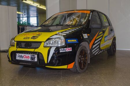 Russia, St. Petersburg, April 13, 2018-rally black with yellow Ford, world automobile exhibition in SKK.