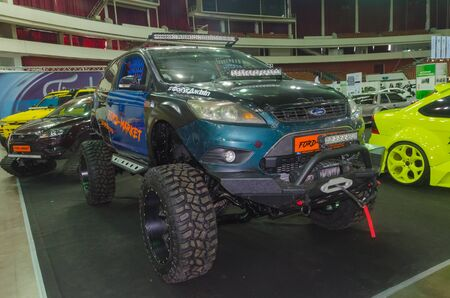 Russia, St. Petersburg, April 13, 2018-Ford , off - road, all-terrain vehicle on big wheels, at the world of the car exhibition in SKK.