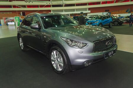 Russia, St. Petersburg, April 13, 2018-Infiniti QX70 at the car world exhibition in SKK.