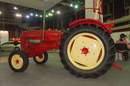 Russia, St. Petersburg, April 13, 2018-tractor at LUKOIL gas stations, world automobile exhibition in CCM.