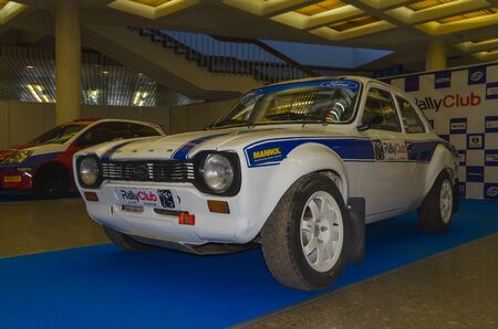 Russia, St. Petersburg, April 13, 2018-rally white Ford, world automobile exhibition in SKK.