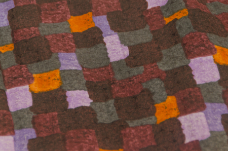close-up, natural fabric texture with squares pattern in different color