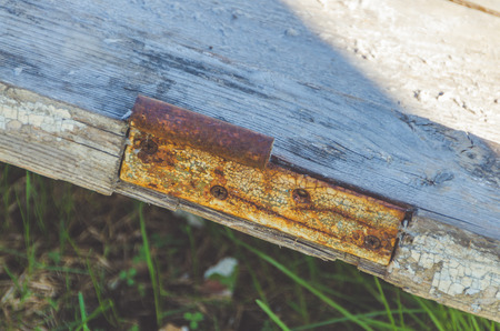 close - up, old door with rusty loop