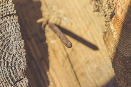 old rusty nail in blackboard, close up