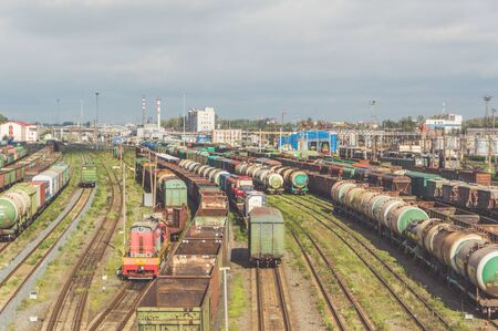 Russia, St. Petersburg September 16, 2017 - station for the dissolution and formation of railway trains, cars descend from the hill forming part, pneumatic brakes on the rails.