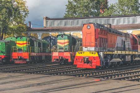 on a Sunny day in the depot of electric locomotives