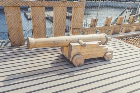 ancient pirate artillery gun made of wood Stock Photo