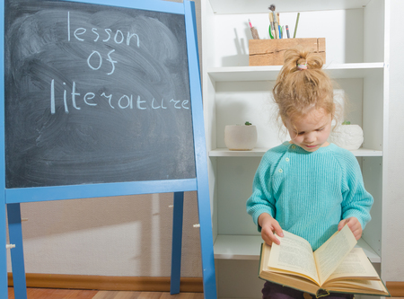 girl, a child with a book near the chalk Board with the inscription literature lesson Stok Fotoğraf