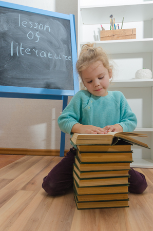 girl, child, elementary school student with a book
