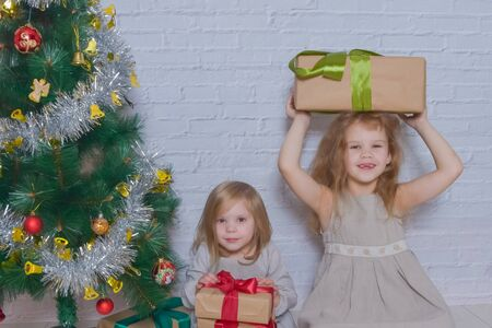 the day with gifts and Christmas tree two girls sisters