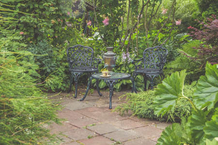 the garden there is furniture for relaxing and meeting