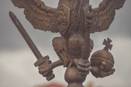 the three-headed eagle with sword and scepter of power symbol of tsarist Russia Banque d'images