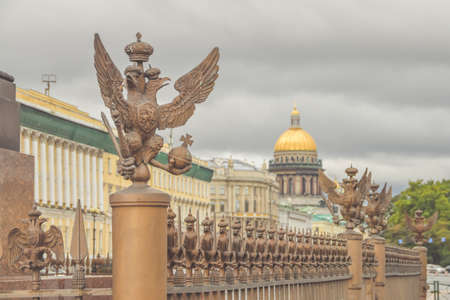 the three-headed eagle with sword and scepter of power symbol of tsarist Russia
