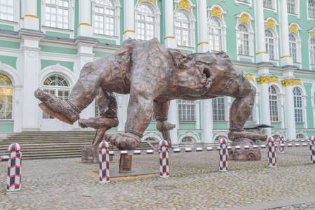 Russia Saint Petersburg September 28 2020-Hermitage courtyard performance by Chinese artist Zhang Huan five - legged Buddha made of copper Editorial