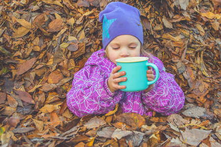 the child lies on the leaves on a Sunny autumn day and is happy Imagens