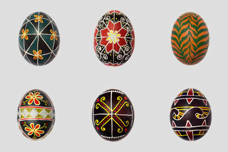 Isolated easter eggs pack  Pisanka - russian folk art for background photo