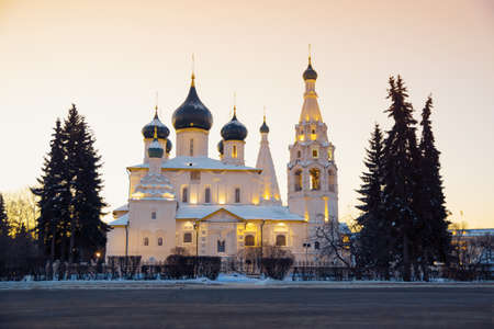 Church in Russia at winter dawn. Yaroslavl