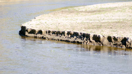 The flow of the river water destroys the semicircle of the sandy shore with grass.